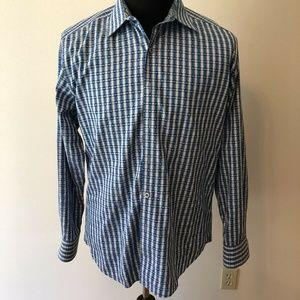 Robert Graham blue and gray check shirt - mens L